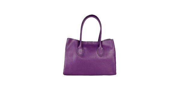 Dámská fialová kabelka s ozdobným lemem Made in Italia