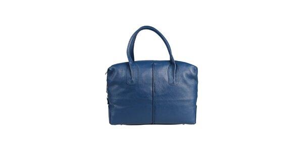 Dámská petrolejově modrá kožená kabelka Made in Italia