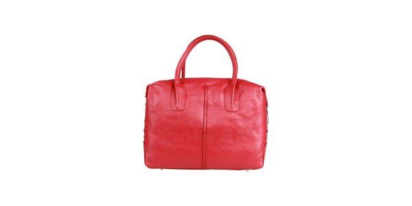 Dámská červená kožená kabelka Made in Italia