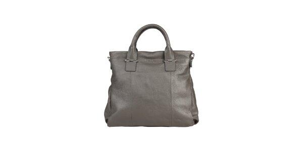 Dámská šedá kožená kabelka s popruhem Made in Italia