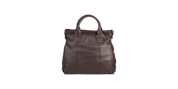 Dámská tmavě hnědá kožená kabelka s popruhem Made in Italia