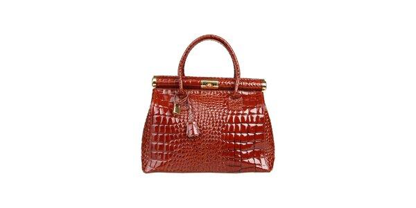 Dámská lakovaná kaštanová kabelka s krokodýlím vzorem Made in Italia