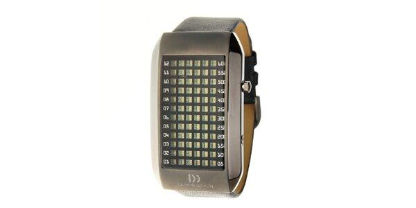 Pánské černé ocelové hodinky Danish Design s černým koženým řemínkem
