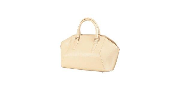 Dámská béžová kožená kabelka Made in Italia