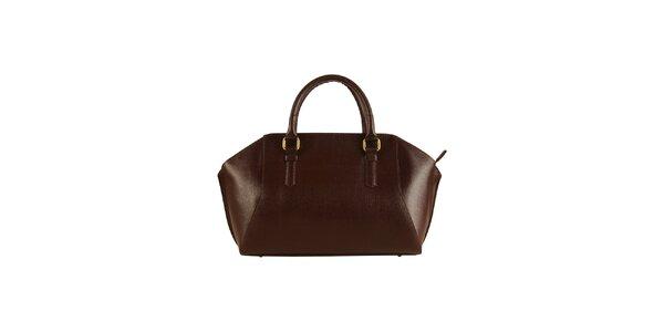 Dámská tmavě hnědá kožená kabelka Made in Italia