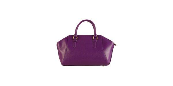 Dámská fialová kožená kabelka Made in Italia
