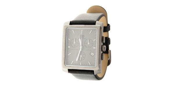 Pánské titanové hodinky Danish design s černým koženým řemínkem