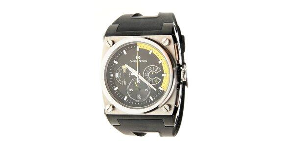 Pánské ocelové hodinky Danish Design s černým silikonovým páskem