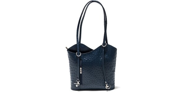 Dámská modrá kabelka s imitací pštrosí kůže Isabella Rhea