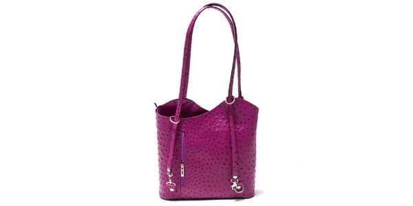 Dámská fuchsiová kabelka s imitací pštrosí kůže Isabella Rhea