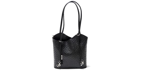 Dámská černá kabelka s imitací pštrosí kůže Isabella Rhea