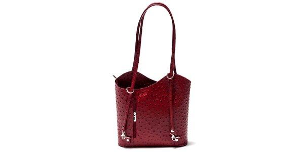 Dámská malinová kabelka s imitací pštrosí kůže Isabella Rhea