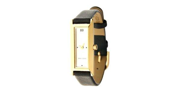 Dámské titanové hodinky Danish Design s černým koženým páskem
