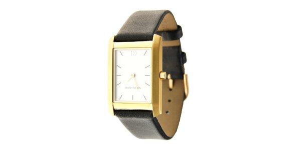 Dámské zlaté titanové hodinky Danish Design s černým koženým páskem