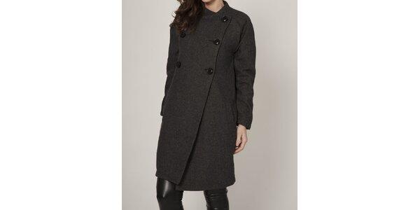 Dámský tmavě šedý dvouřadový kabát Mell