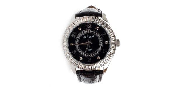 Dámské analogové hodinky Jet Set s krystaly s koženým řemínkem