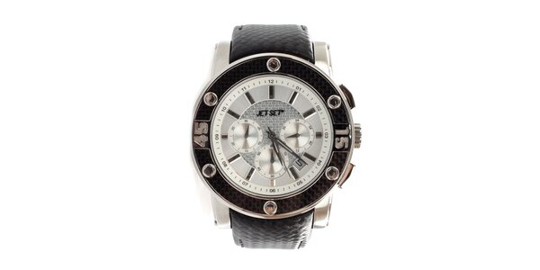 Dámské černobílé hodinky s ocelovým pouzdrem Jet Set