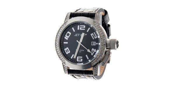 Dámské ocelové hodinky Jet Set s černým koženým řemínkem a kamínky