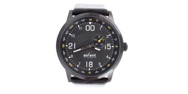 Pánské černé hodinky se žlutými detaily Axcent