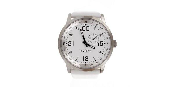 Unisexové stříbrné hodinky s bílým ciferníkem a řemínkem Axcent