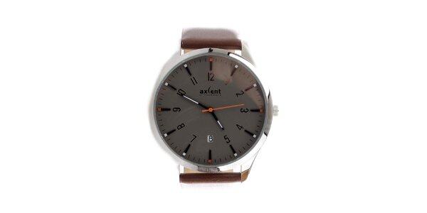Pánské hnědé hodinky s datumovkou Axcent