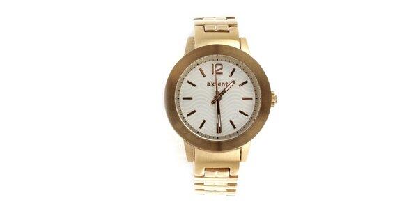 Dámské zlaté hodinky s bílým ciferníkem Axcent
