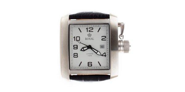 Ocelové hranaté hodinky s koženým řemínkem Royal London
