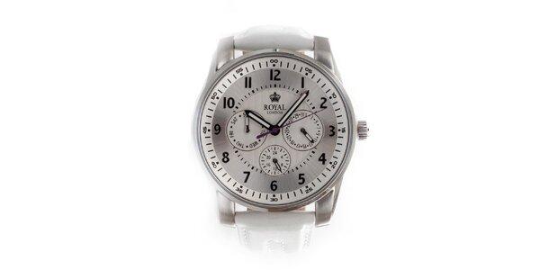 Dámské bílé ocelové hodinky Royal London se stříbrno-bílým ciferníkem