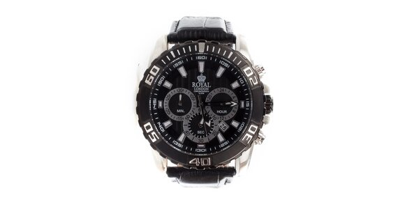 8d681edc28d Pánské černé hodinky Royal London s koženým řemínkem