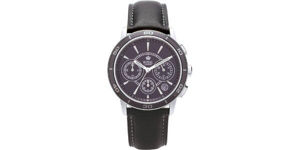 Černé analogové hodinky s chronografem Royal London