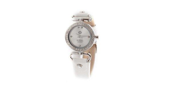 Dámské bílé náramkové hodinky Royal London s kamínky