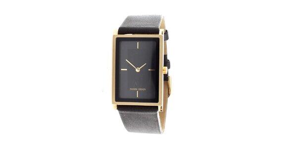 Dámské černé hodinky Danish Design s obdélníkovým ciferníkem