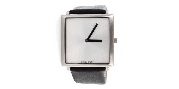 Dámské černé hodinky Danish Design s metalickým stříbrným ciferníkem