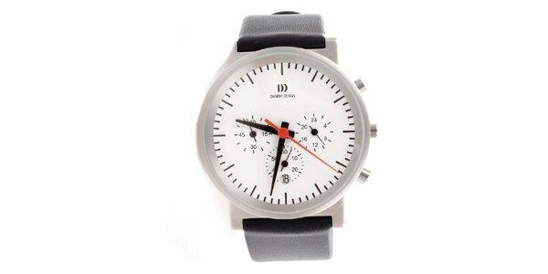 Dámské ocelové hodinky Danish Design s černým koženým řemínkem