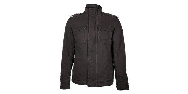 Pánský zimní tmavě šedý kabát Timeout
