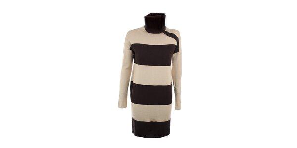 Dámské hnědo-béžové pruhované šaty Max Mara