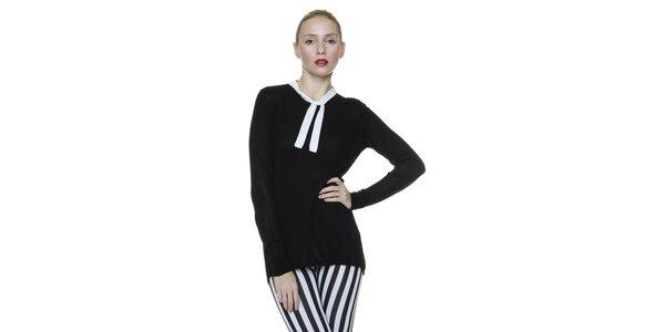 Dámský černý svetr s bílým lemem Pierre Balmain
