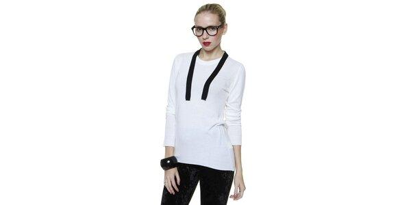 Dámský bílý svetr s černým lemem Pierre Balmain