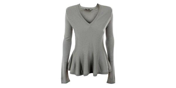 Dámský šedý hedvábný svetřík s výstřihem do V Max Mara
