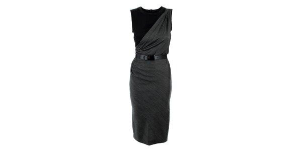 Dámské šedo-černé šaty s páskem Max Mara