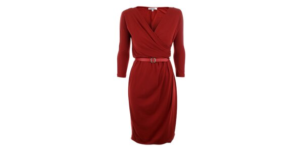 Dámské červené šaty s páskem Max Mara