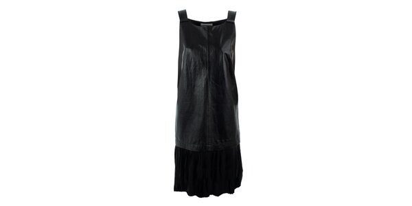 Dámské černé šaty s koženým předním dílem Max Mara