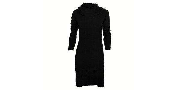 Dámské černé pletené šaty Timeout s velkým límcem