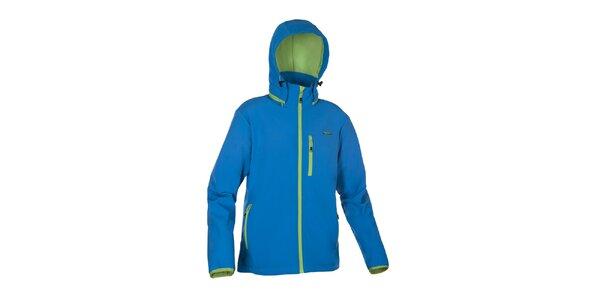 Pánská modrá softshellová bunda Envy se zelenými lemy