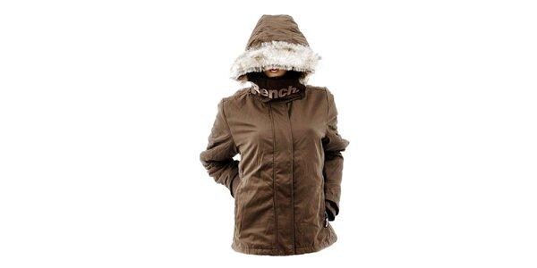 Dámská hnědá bunda s kožíškem Bench
