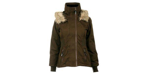 Dámská khaki bunda s kožíškem Bench