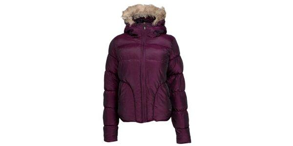 Dámská fialová prošívaná bunda s kožíškem Bench
