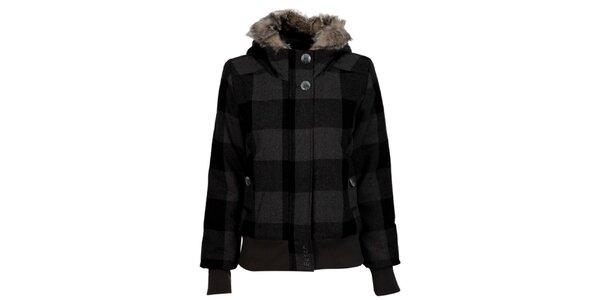 Dámská šedo-černá kostkovaná bunda Bench