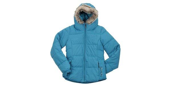 Dámská tyrkysová prošívaná bunda s kožíškem Bench