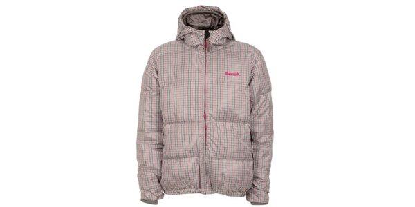 Pánská šedo-růžová kostkovaná bunda s kapucou Bench